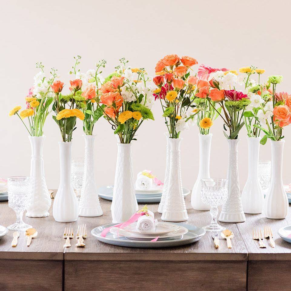 Spring wedding reception, spring table setting, spring floral centerpieces, reception table, spring wedding decor
