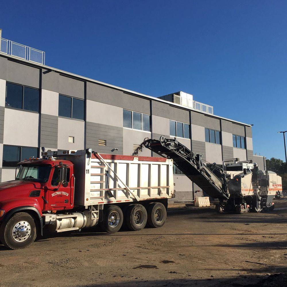 Asphalt milling parking lot for Steamfitters Union