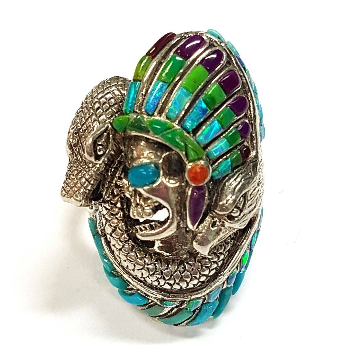 Skull & Snake Opal Ring  available at Kazbah online and our Leicester City Centre shop
