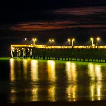 PAndercyk - Surf City Pier at Night - Photography on Canvas - 17x6 - $50