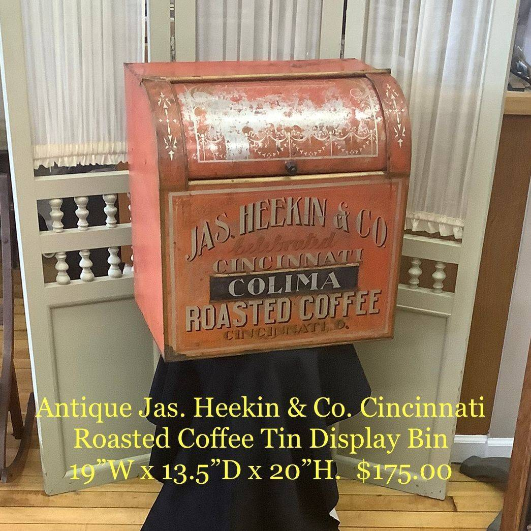 Antique Jas. Heekin & Co. Cincinnati Roasted Coffee Tin Display Bin   $175.00