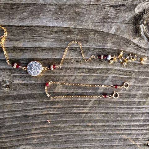 14k gold filled y necklace, with silver druzi and garnet