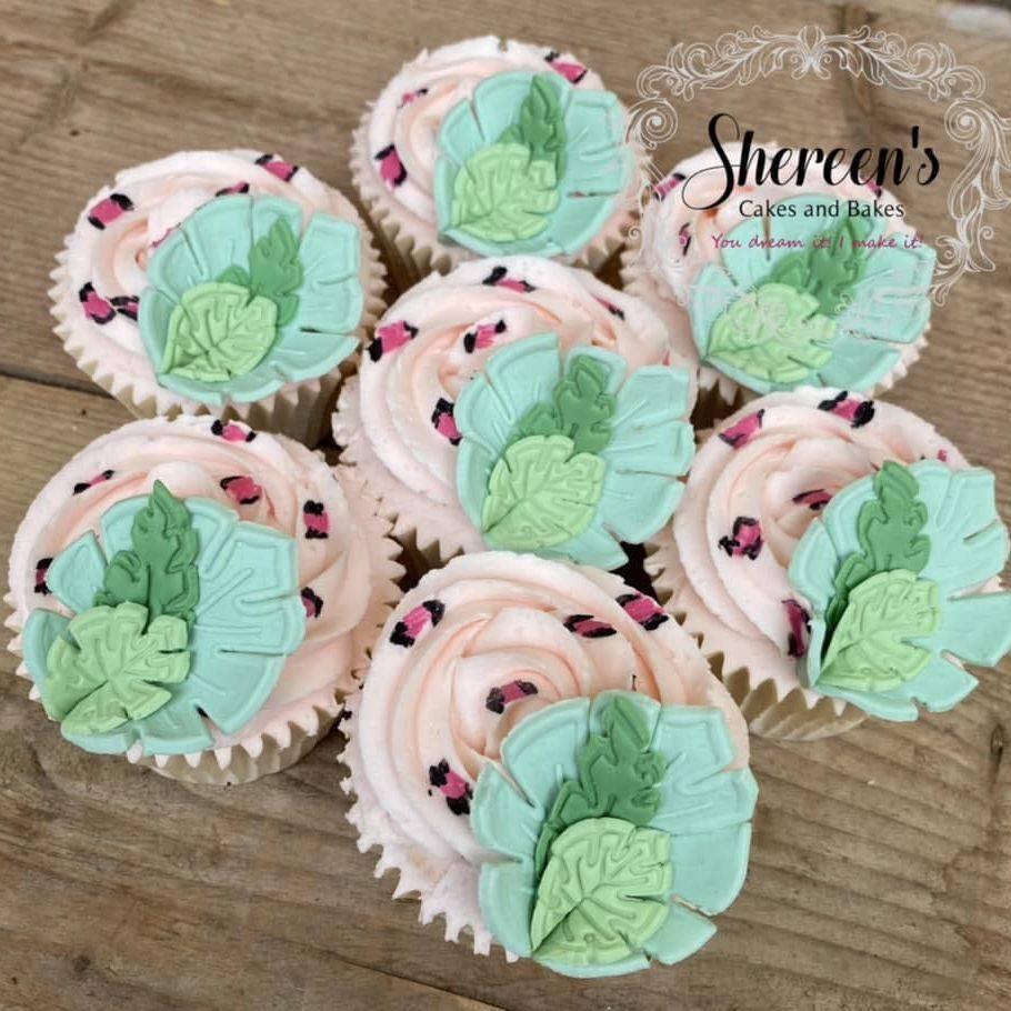 Jungle Animal Print Leaf Pink Cupcakes Birthday girl