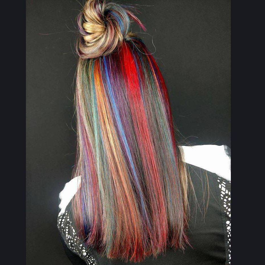 rainbow hair top knot mermaid hair