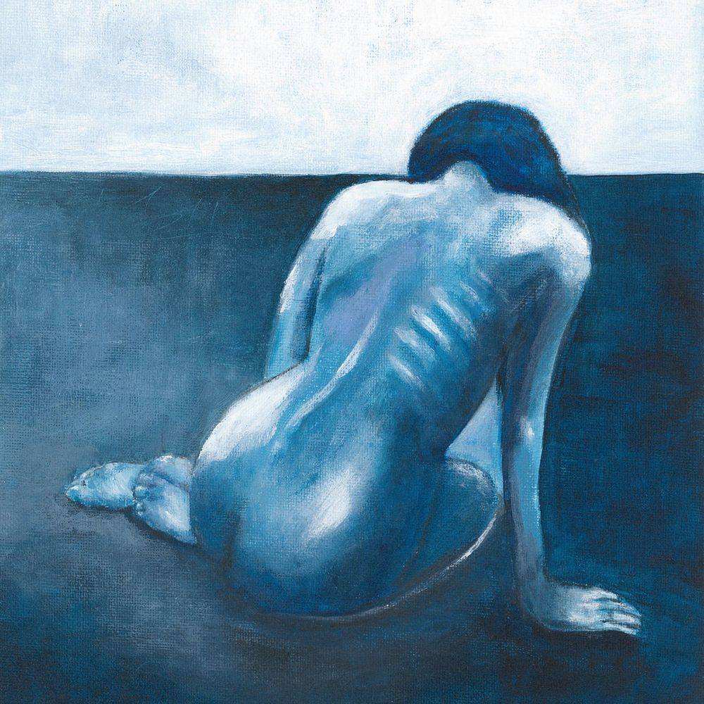 Woman in art, female form, oil painting of a woman, naked woman in art, blues, mixed media artist