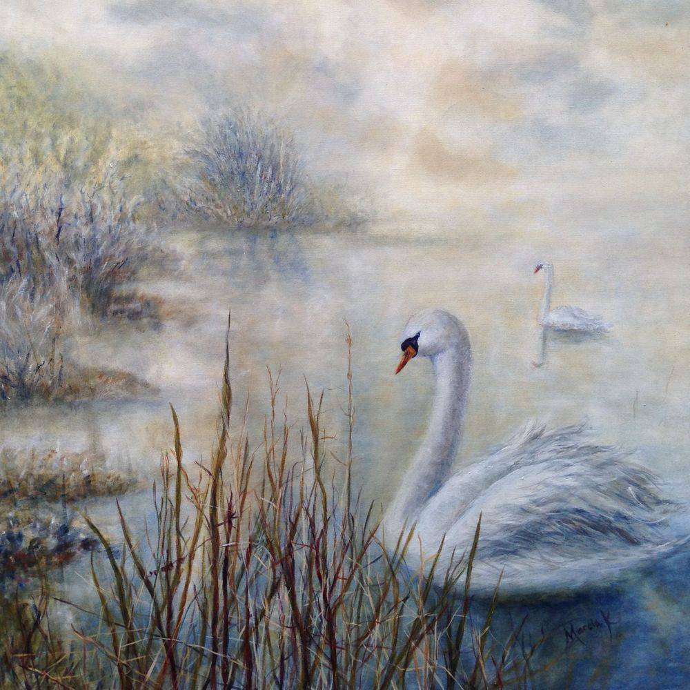 "Swans on lake: 4"" x 3"" oil painting by Marcia Kuperberg"