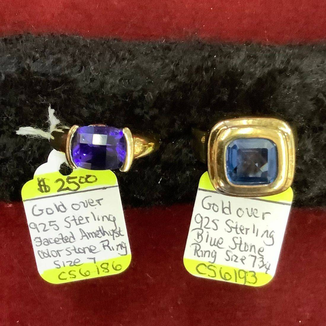 Gold Over 925 Sterling Faceted Amethyst size 7 Ring $25 , Gold Over 925 Sterling Blue Gem Stone size 7-3/4 Ring $25