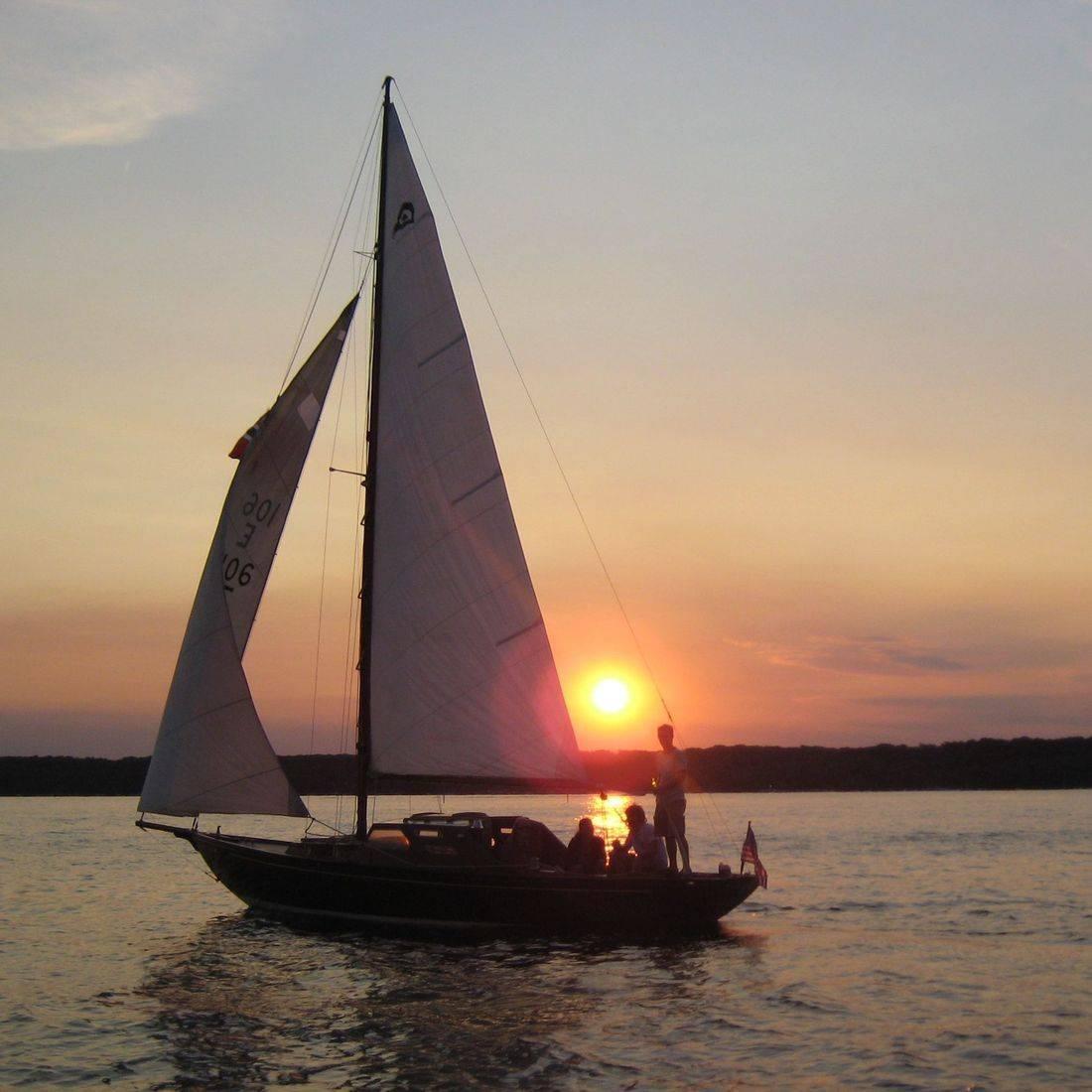 King's Cruiser wooden sailboat on Lake Geneva