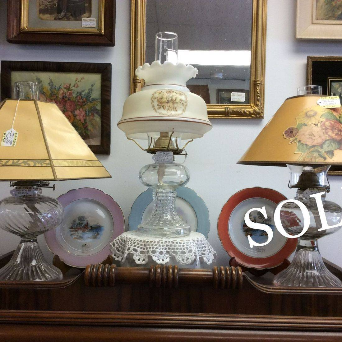 1970's P&A Country Style Oil Lamp & 2-Vin. Crystal Oil Lamps (Shades sold separate).