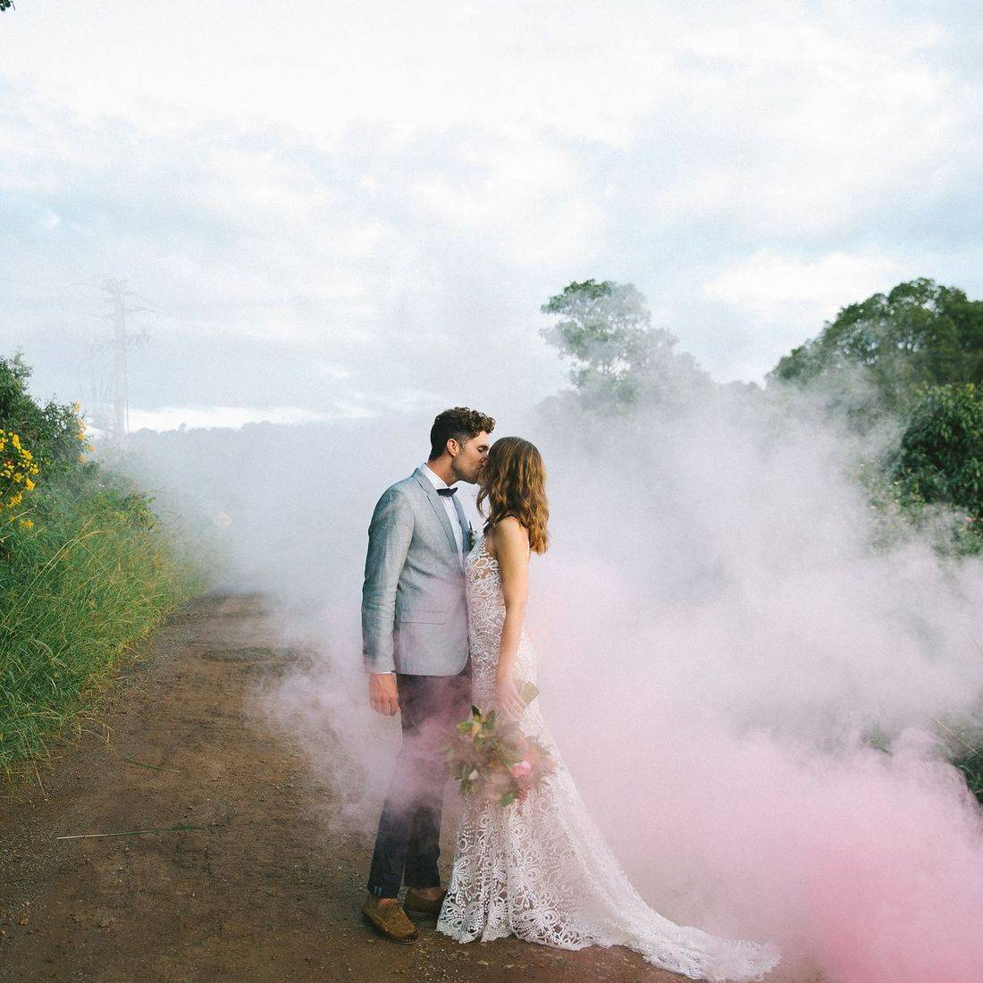 Smoke bomb - Alice and Joel's wedding