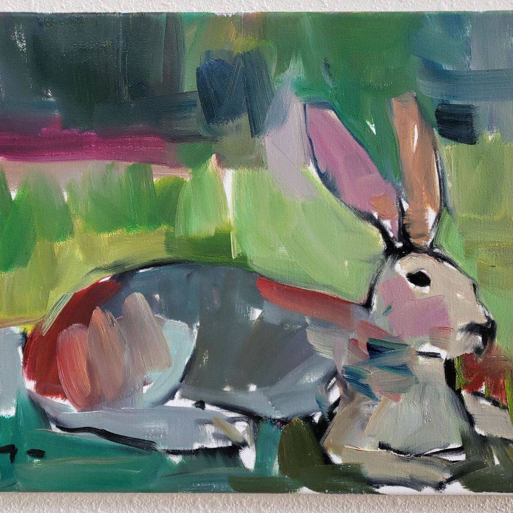bunny rabbit oil painting abstract impressionism