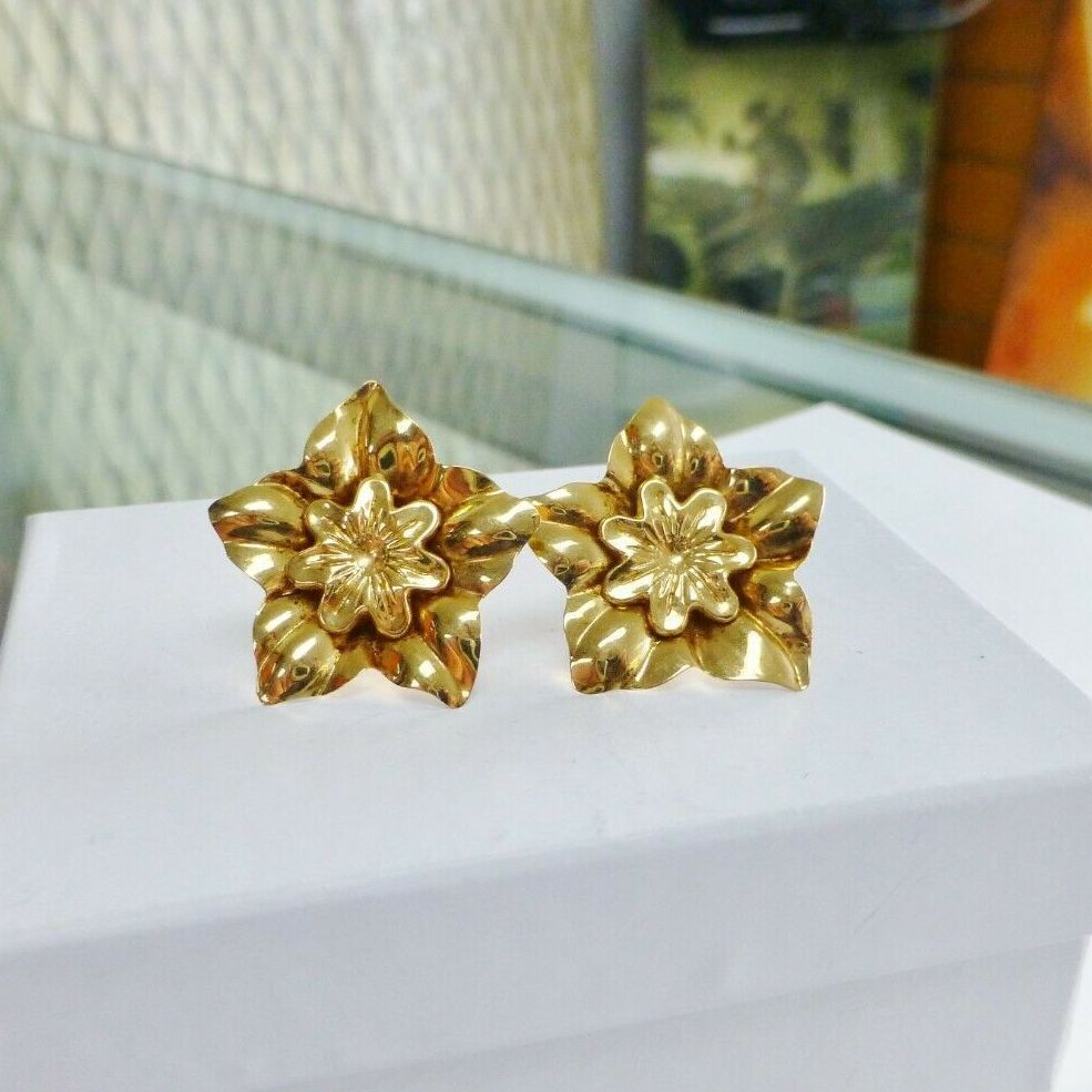 A Pair of Yellow Gold Double Flower Stud Earrings