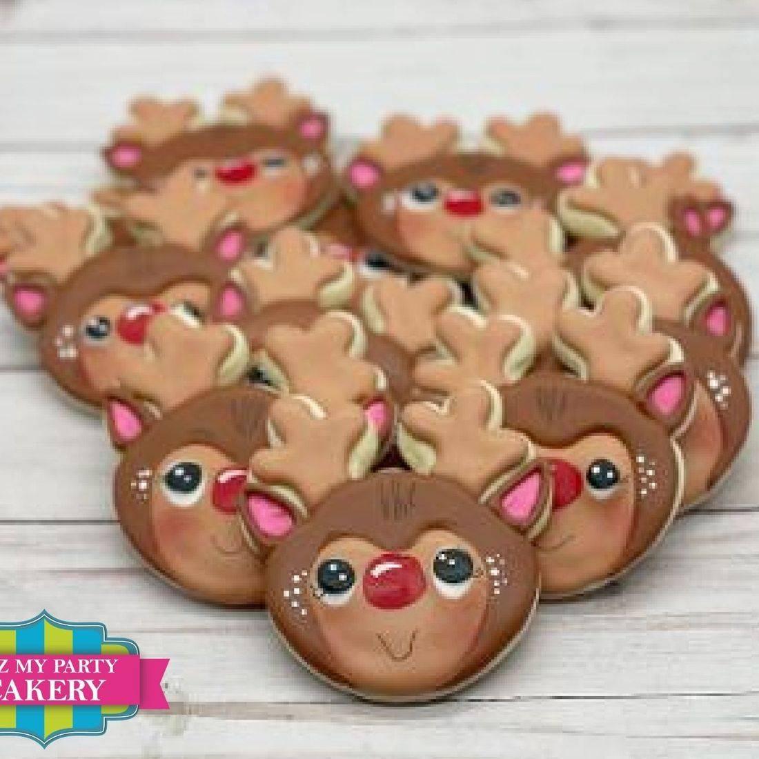 Reindeer Cookies, Rudolph Cookies, Holiday Cookies, Christmas Cookies, Itz My Party Cakery