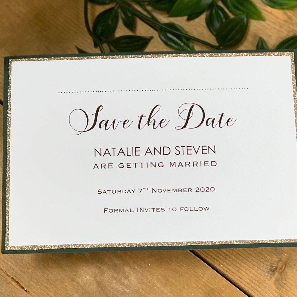 Champagne Glitter and Racing Green Save the Date