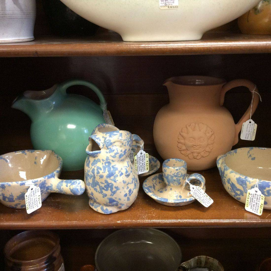 "Bybee Pottery Spongeware - Gravyboat  $35,  Chicken Creamer  $35,  Finger Candlestick  $18,  6"" Baker  $30,  1930's Rum Rill, (Red Wing), Green Pitcher  $25, Benston West, Terra Cotta 'Sunburst', Pitcher  $25.00"