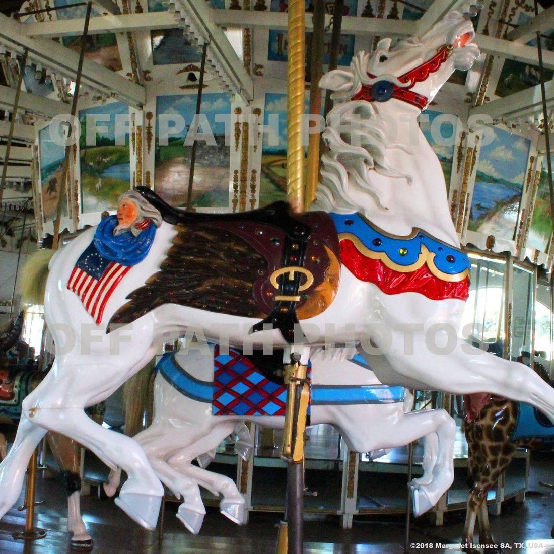 photography, antique carousels, patriotic, horses, amusement park, rides, merry-go-round