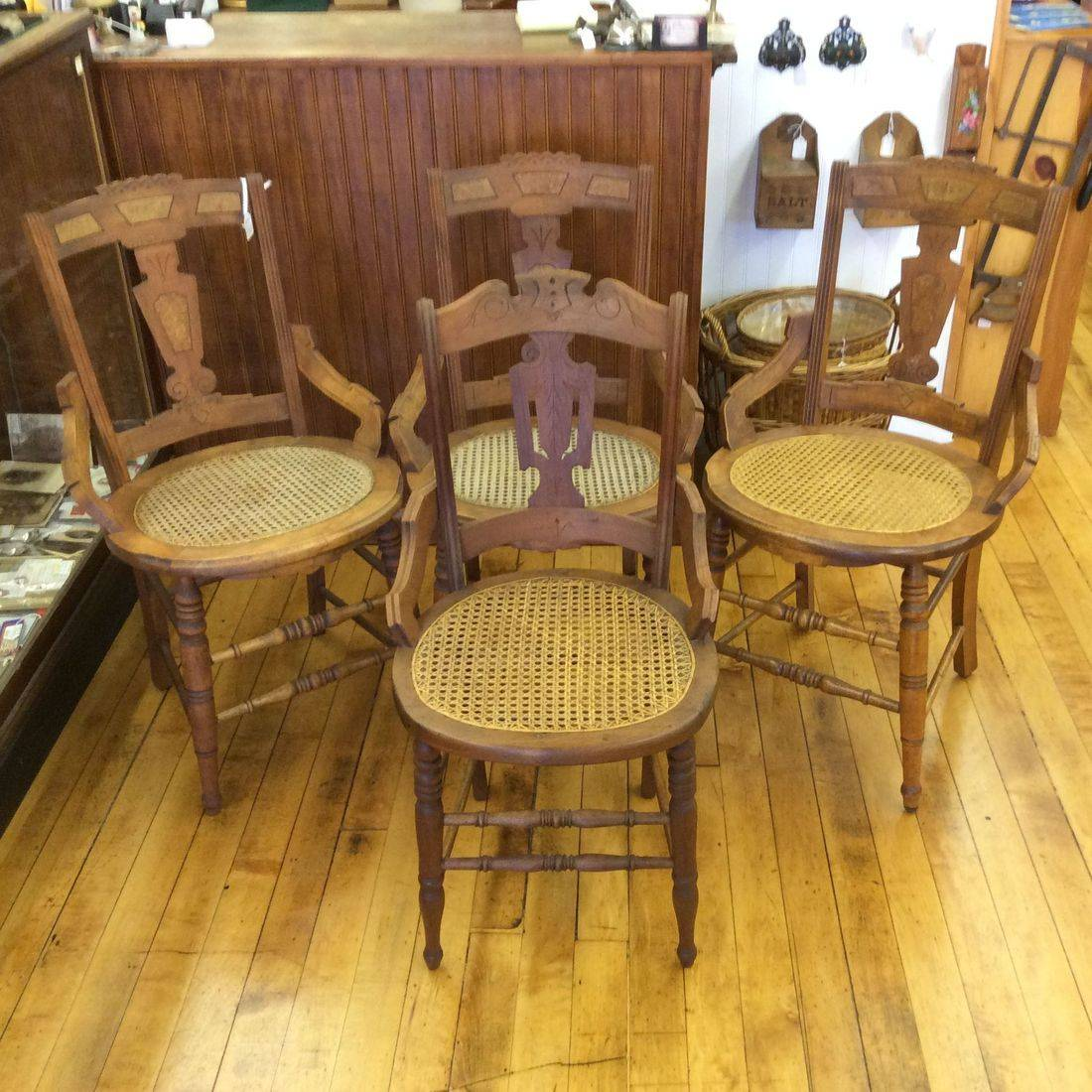 1890-1910 Eastlake Walnut Chairs w/Burled Backs and Cane Seats   $30.00 each