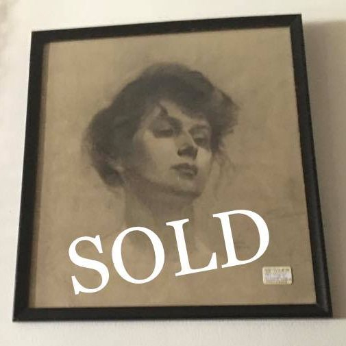 "1907 ""Maria"" Charcoal by Charles A. Hellmuth  $125.00"