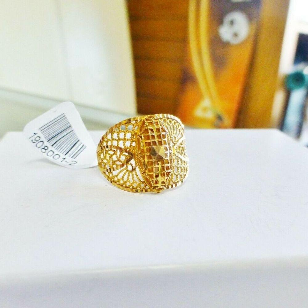 Yellow gold arabic design openwork filigree ring