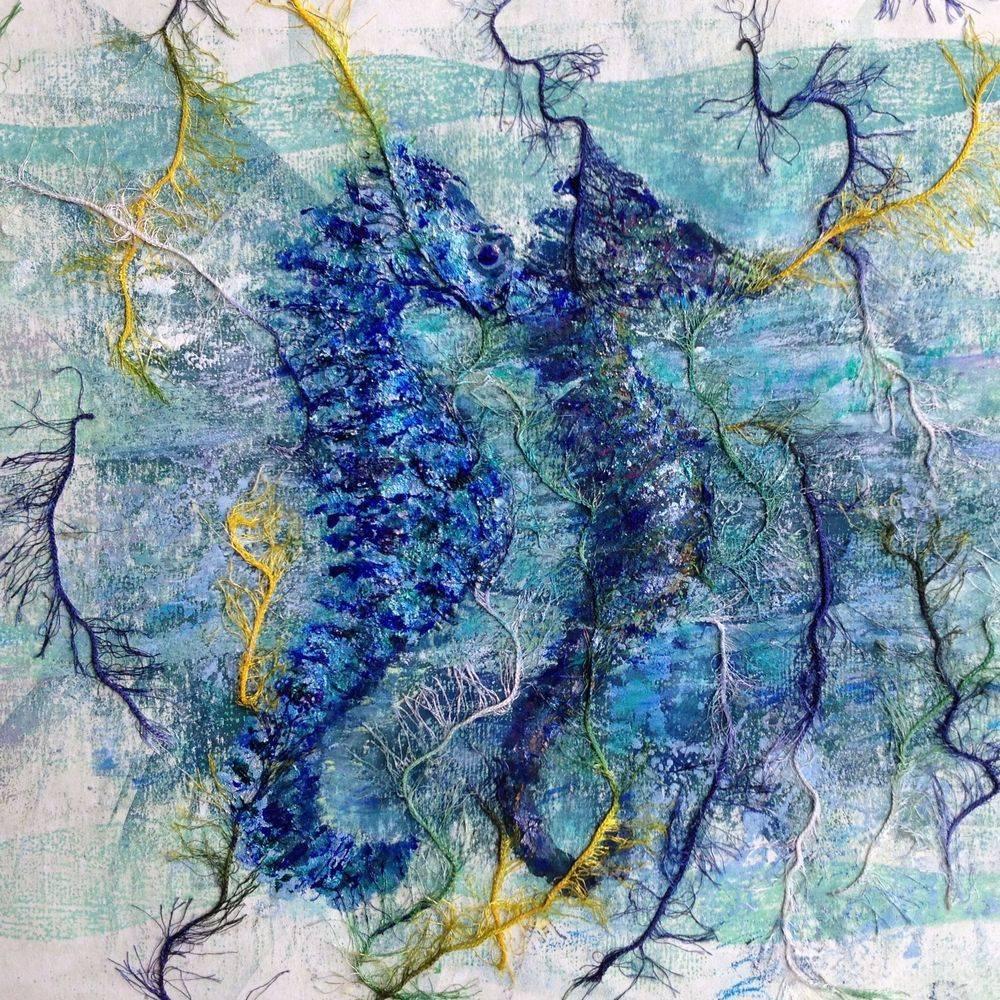 Seahorses mixed media painting by Marcia Kuperberg
