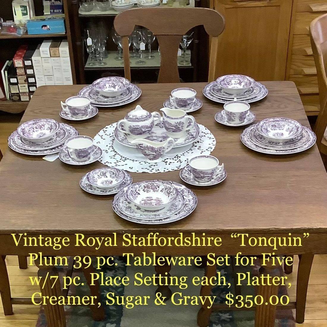 "Vintage Royal Staffordshire ""Tonquin"" Plum 39 pc. Tableware Set for Five   $350.00"