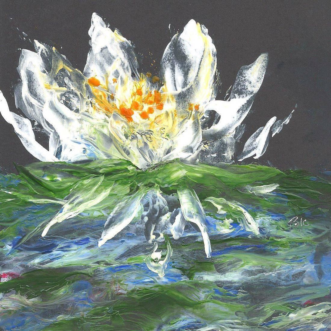 Lotus Flower Painting, Encaustic Lotus Flower, WaterLily Painting, Yoga Studio Art Print, White Lotus