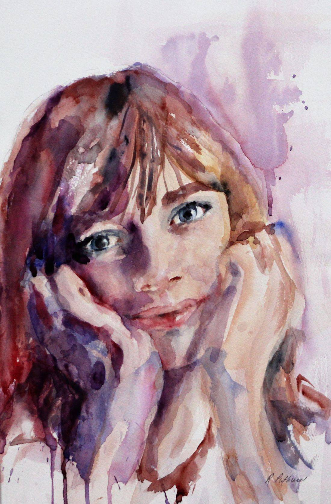 Becky Krutsinger, commissioned portrait, watercolor painting, person painting