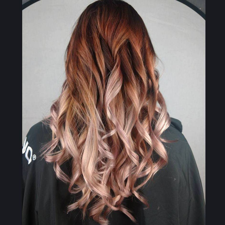 ombre balayage blonde brunette rose gold