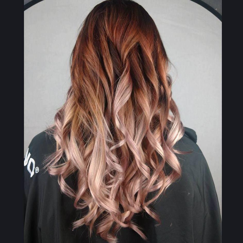 ombre balayage blonde brunette rose gold