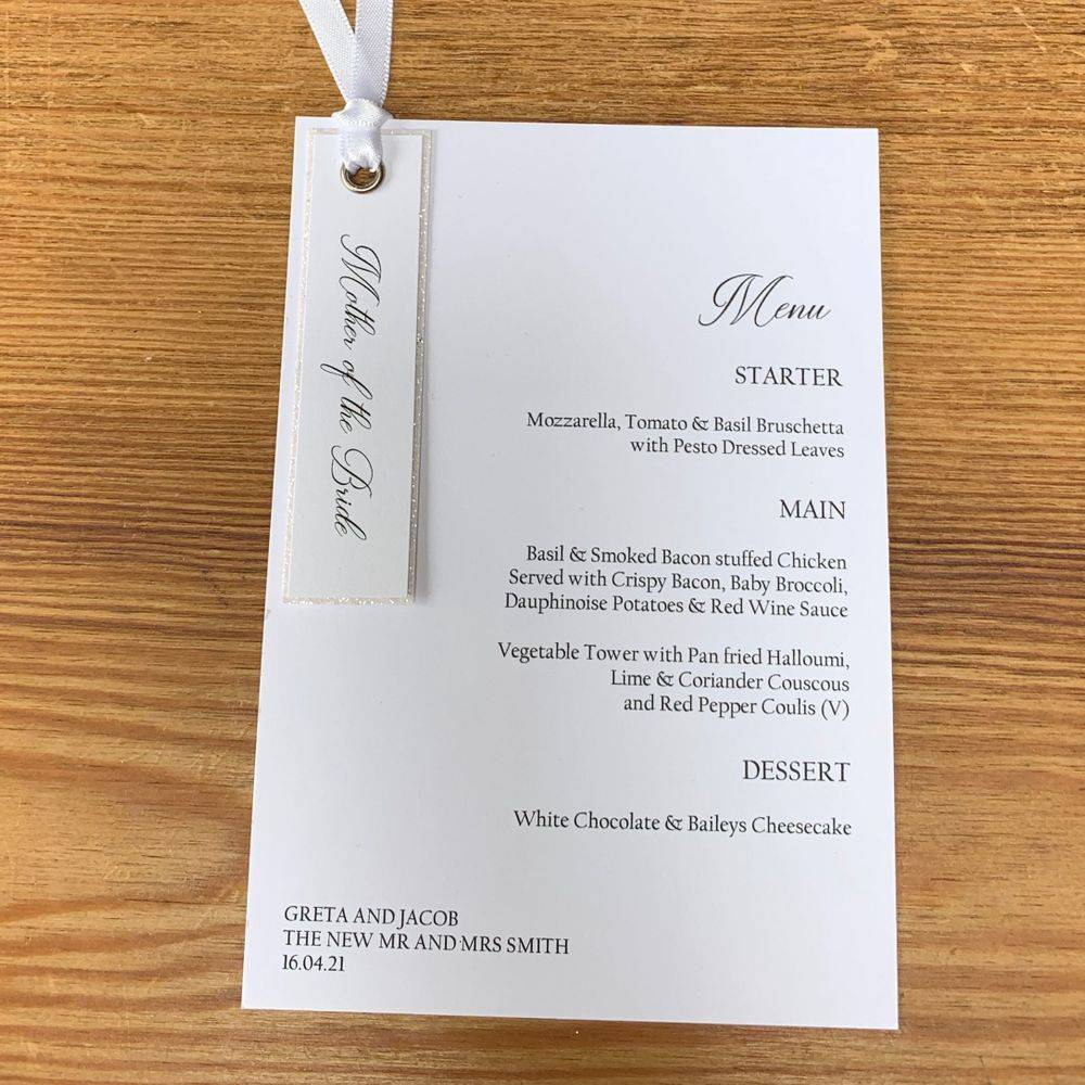 White glitter Menu card with place name attached