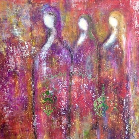 Healing Souls, by Barbara Polc,  Oil and cold wax medium painting, abstract angels, oil painting,  inspirational art, figurative painting