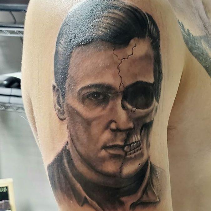 Color skull tattoo at Tattoo shop in Ann Arbor