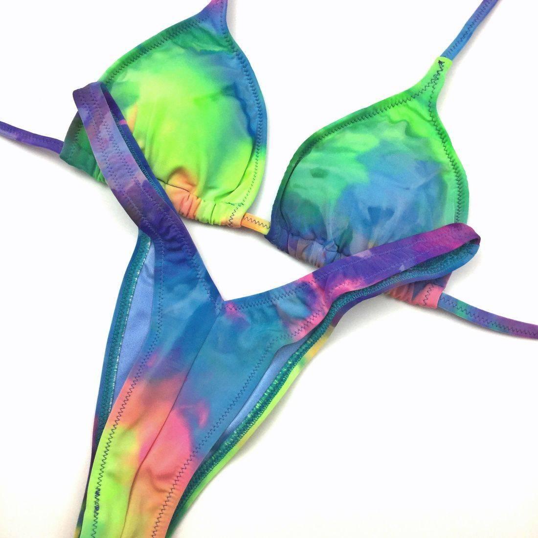 tie dye posing practice bikini