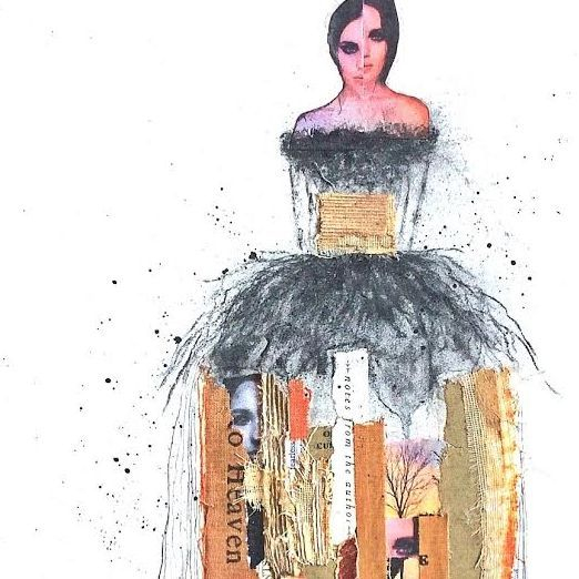 Mixed Media Collage;  by Barbara Polc; Vintage Book Art; Woman in Art