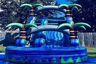16ft blue crush palm tree waterslide inflatable party rental