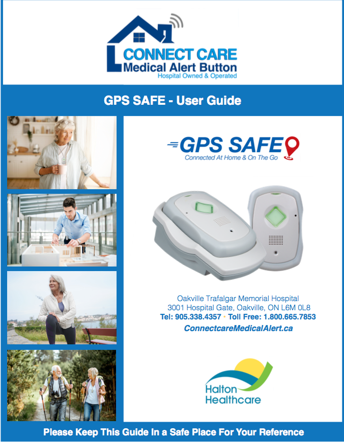 GPS Safe User Guide and images of independent people wearing the GPS Safe around their neck or on their belt.