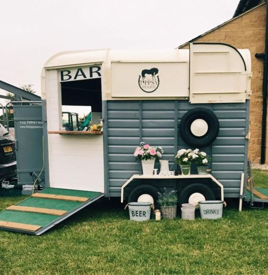 Picture of converted horse trailer at an event