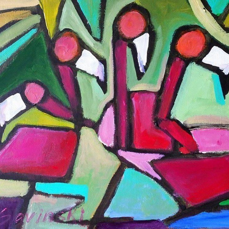 Abstracted Flamingos