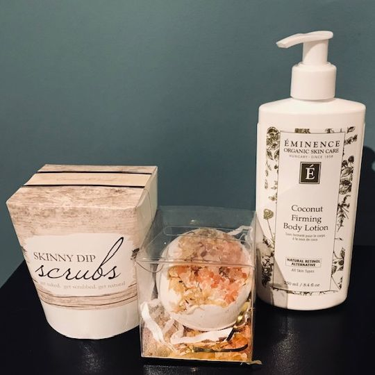 skinny dip scrub, bath bomb surprise. eminence coconut body lotion