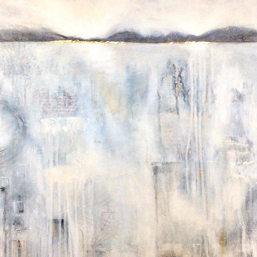 Atmospheric Abstract Landscape, Acrylic Gold Leaf Mixed Media Collage; contemporary home decor