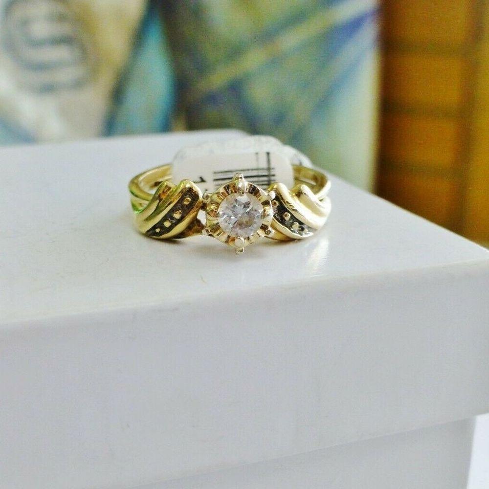 Illusion Set Round Diamond Swirl Solitaire Wedding Set in Yellow Gold