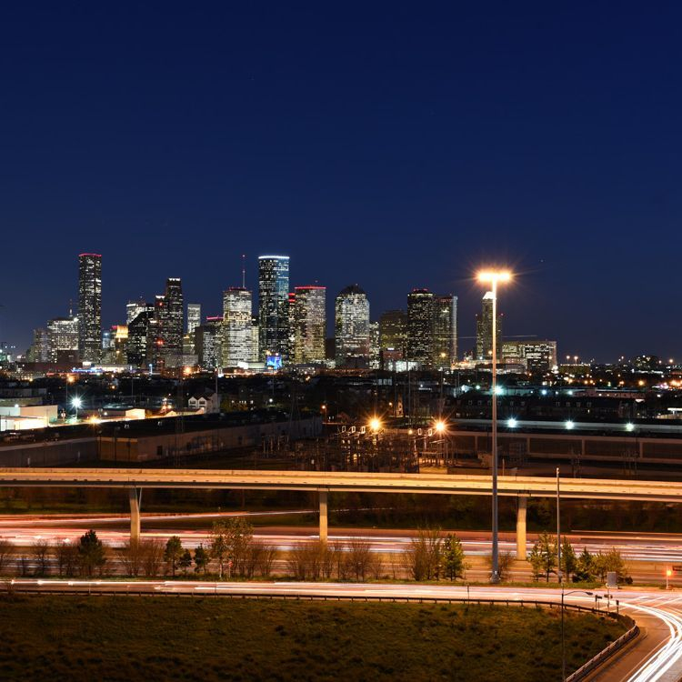 Houston Heights apartments city views night