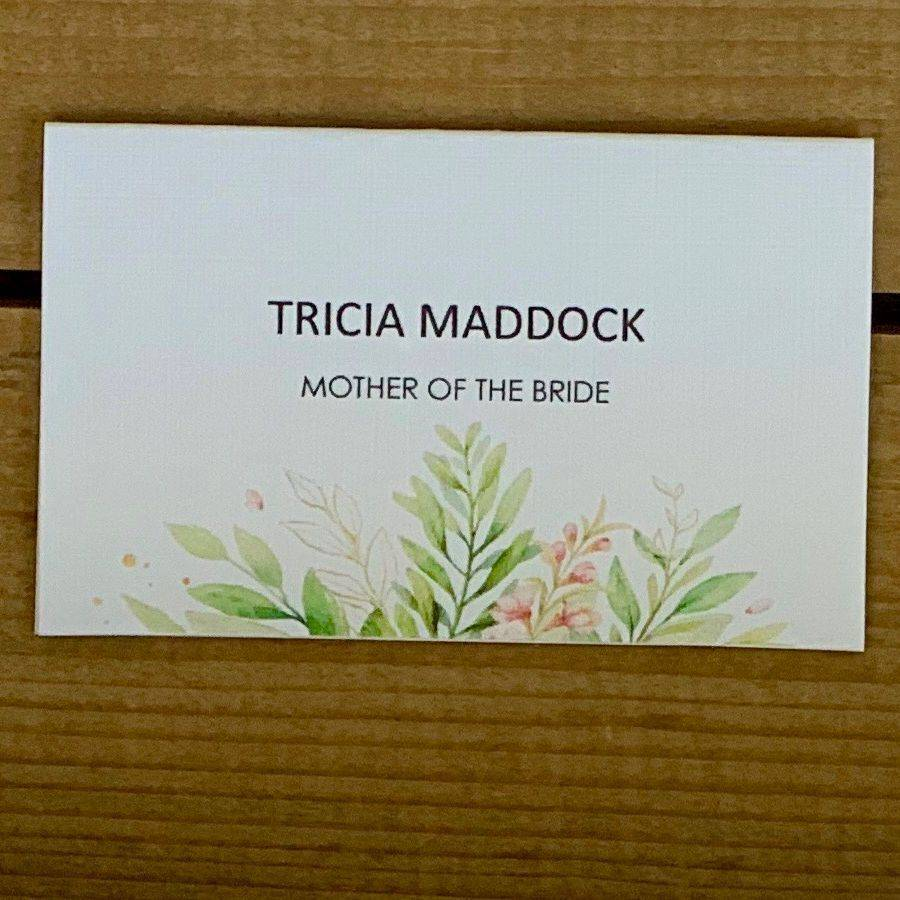 Pink and White place name cards