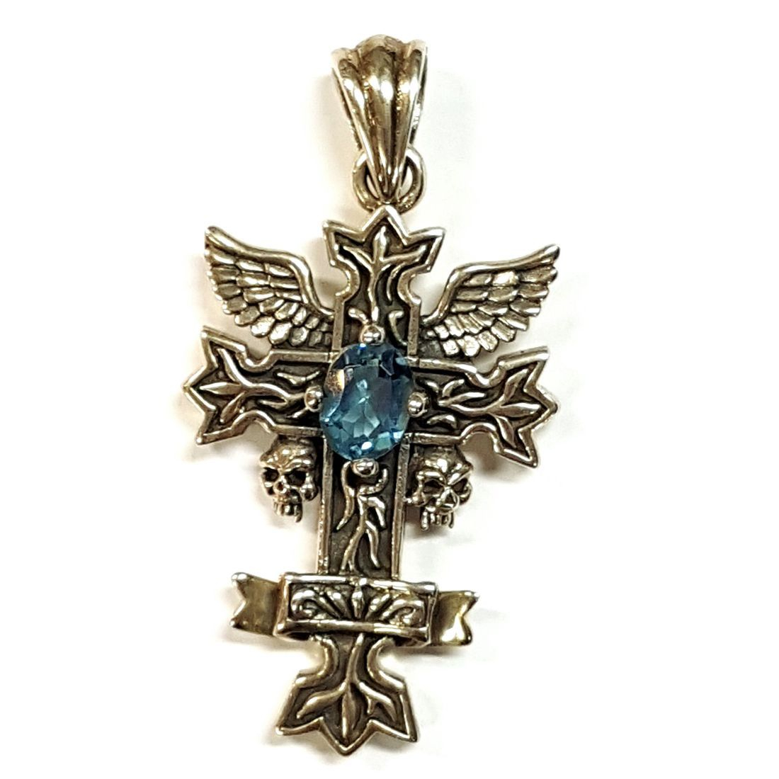Blue Crystal Cross Pendant  available at Kazbah online and our Leicester City Centre shop