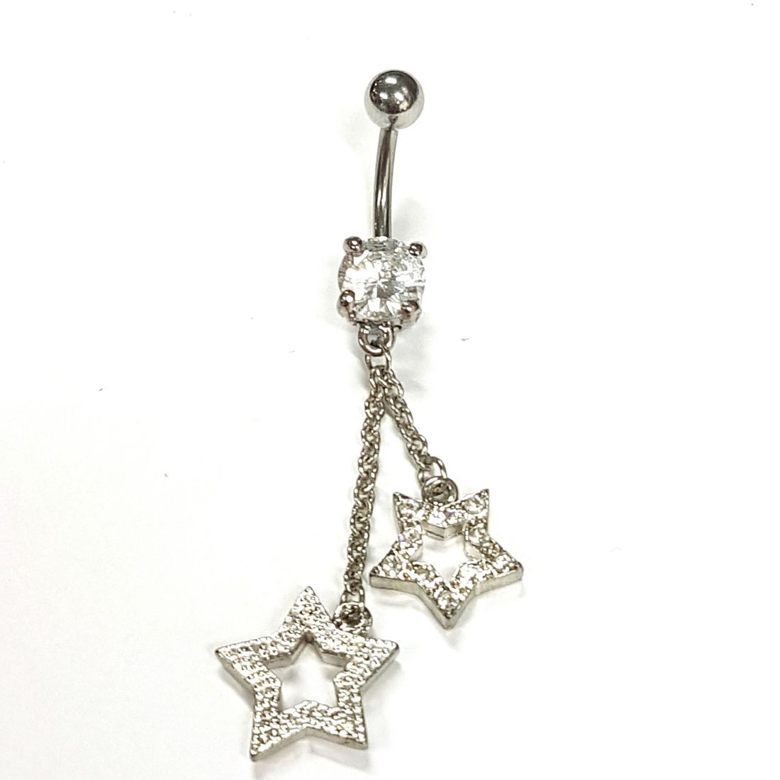 1.6mm x 10mm Clear Crystal Stars Titanium Navel Bar  available at Kazbah online and our Leicester City Centre Shop