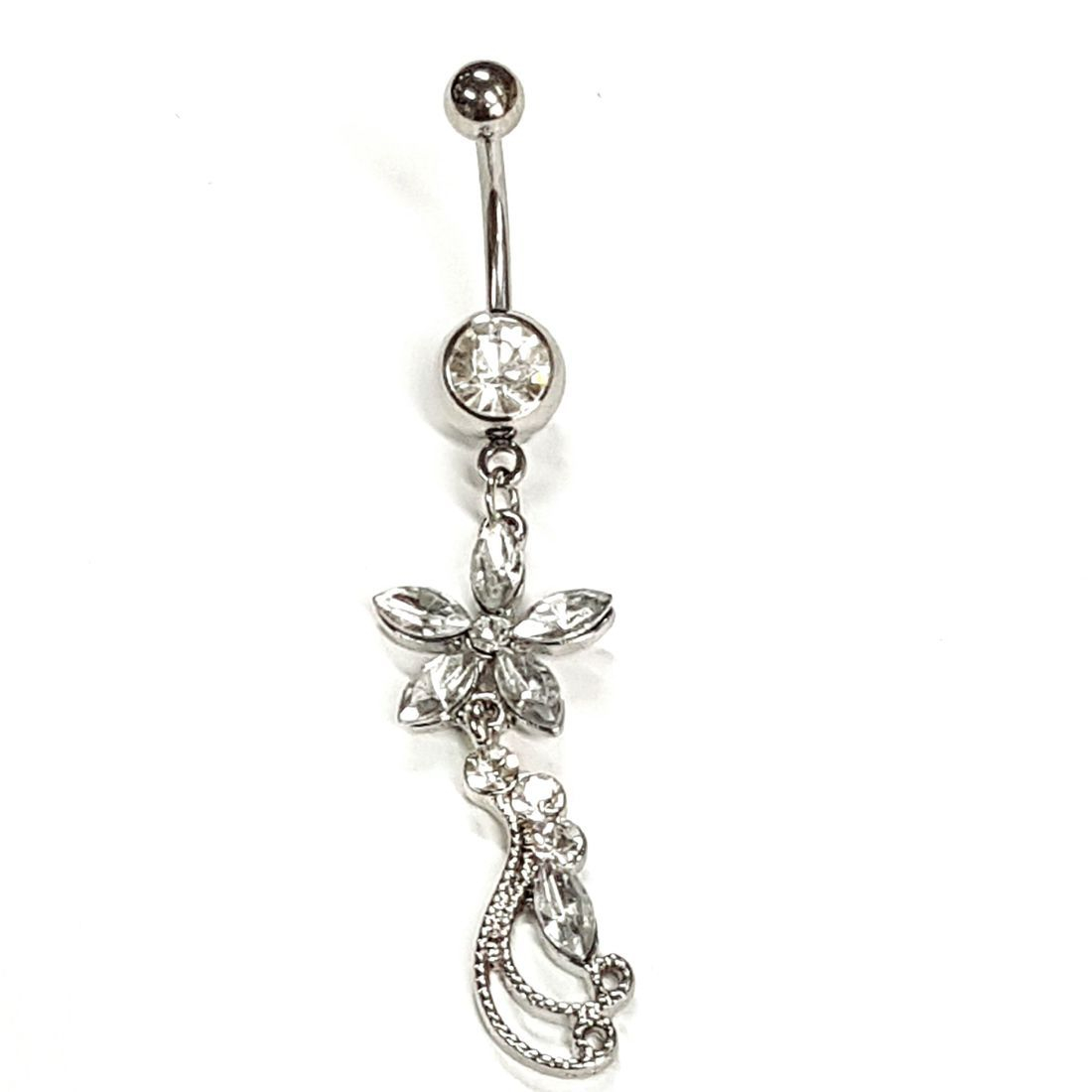 1.6mm x 10mm Clear Crystal Flower Titanium Navel Bar   available at Kazbah online and our Leicester City Centre Shop