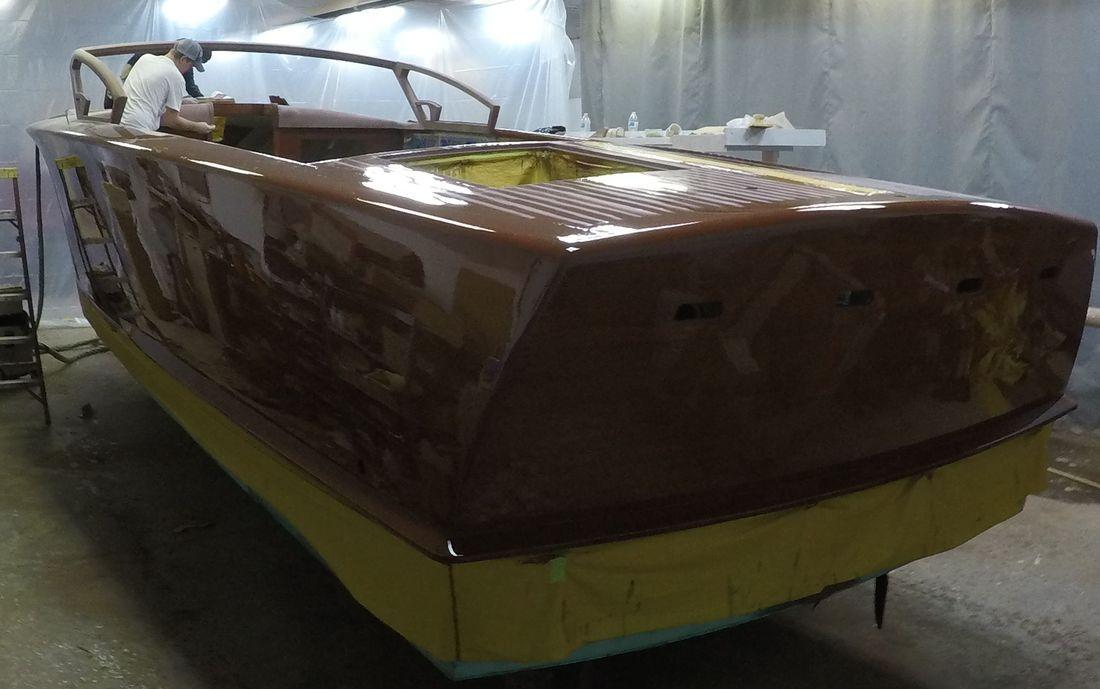 luxury wood boat at shepherd boat co