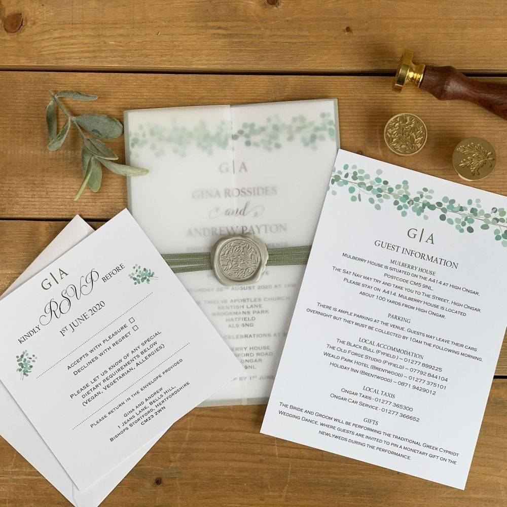Wax Seal Wedding Invitation - Eucalyptus and Grey