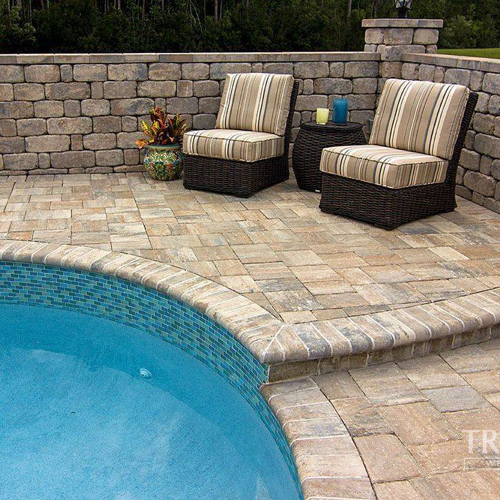 paver pool deck, paver outdoor living, landscape, hardscape