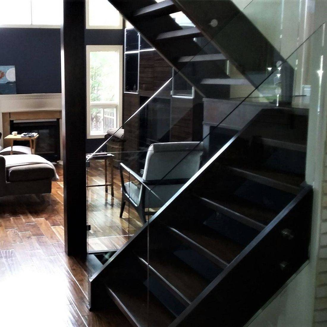 Kitchener Maple Open Rise Stairs With Glass Railings